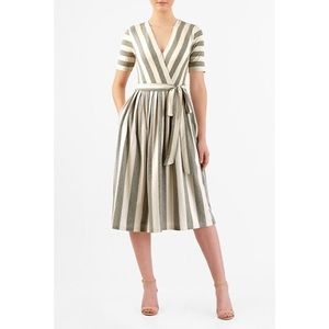 eShakti Stripe Cotton Fit & Flare Dress